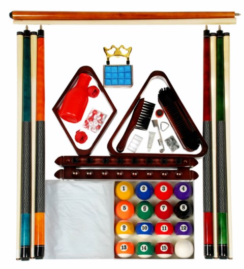 Billiard -  Pool Table Accessory Kit W Art # Style Ball Set Mahogany Finish